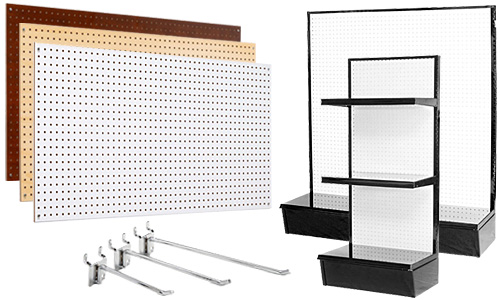 Quarter inch thick pegboard wall panels and gondolas