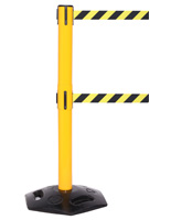 Weatherproof Dual Belt Stanchion, Black & Yellow