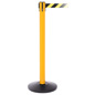 Yellow Retractable Belt Barrier, Anti-Scuff Base