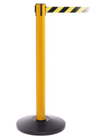 Yellow Steel Stanchion Barrier, Anti-Scuff Base