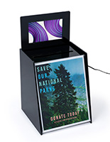 Ballot suggestion box with video screen and front sign holder