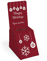 Seasonal cardboard donation bin with personalized text
