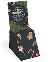 Holiday printed cardboard ballot box with stock seasonal graphics