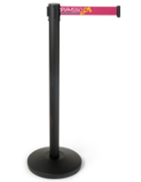 41.5-inch tall black post with 3-color printed pink belt stanchion