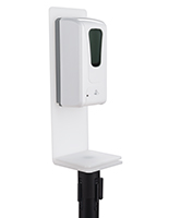 White hand sanitizer stanchion topper