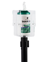 Stanchion topper sanitizing wipe holder with adjustable height dispenser