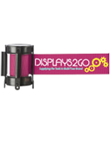 6.5-foot long pink stanchion belt with custom printing