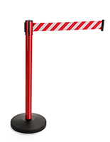 Reflective Belt Weighted Stanchions Mark Off-Limits Areas