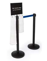 2-stanchion umbrella bag set with blue belt includes signage for safety promotion