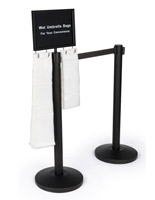 Gray belt stanchion umbrella station with weighted base for stability