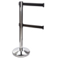 Chrome Stanchion with Retractable Dual Belts, Weighs 21.5 lbs