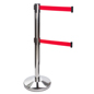 Dual Belt Chrome Stanchion Receiver, Weighted Base
