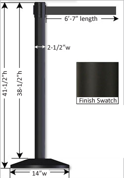 Black Stanchion Height & Measurements
