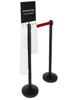 2-stanchion umbrella bag holder with red belt and 300 short and long plastic sleeves