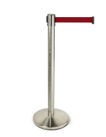 41.5-inch tall red retractable belt queue pole