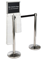 Silver stanchions with umbrella bag holder and weighted base