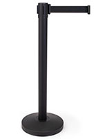 Retractable barrier stanchion with 2 inch wide belt