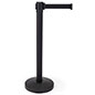 Retractable barrier stanchion made of black powder coated steel