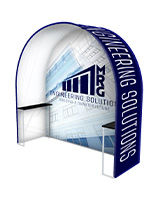 Custom printed trade show arch with shelves.