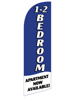 1-2 BEDROOM Blue Feather Banner with Apartment Now Available Message for RE12BEDBL Kits