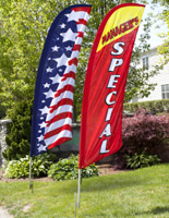Real estate flags for residential or company rental space.