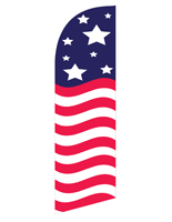 Mirrored Stars & Stripes feather banner for REAMERBAN Fixtures