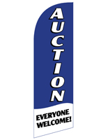 AUCTION Blue Flag Banner with Everyone Welcome Message for REAUCTBL Displays