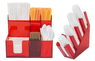 Multi Pocket Red Acrylic Condiment Caddies