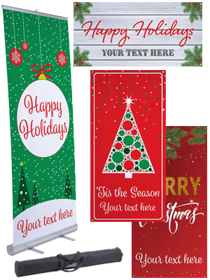 Traditional holiday advertising banners