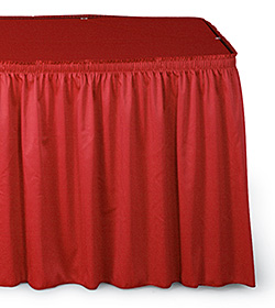 Closeup of ruffled red table skirting
