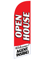 6 Foot Tall OPEN HOUSE Red Feather Banner for REOPENRD
