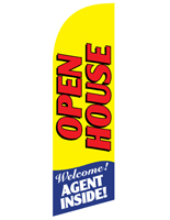 OPEN HOUSE Yellow Message Flag with Agent Inside Text for REOPENYL