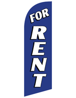 Pre-Printed FOR RENT Blue Advertising Flag Banner for RERENTBL Kits