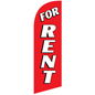 FOR RENT Red Promotional Flag with Stock Graphics for RERENTRD Kits