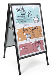 sidewalk signs for restaurants and cafes