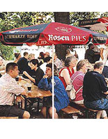 Use these restaurant umbrellas at a café or bistro that has outdoor furniture.