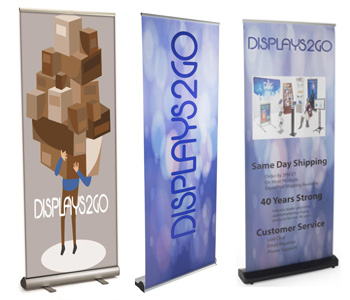 Retractable banners with stands
