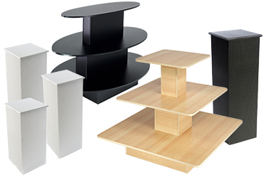 Retail display tables and pedestals