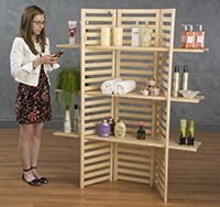 Wood Display Shelf with Merchandise