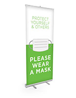 Please wear a mask retractable banner display