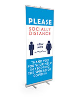 Please socially distance pre-printed banner