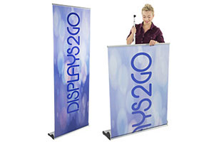 Banner stands with retractable graphics