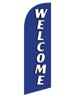 Mirrored reverse WELCOME blue feather banner for REWELBL Kits