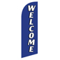 Polyester WELCOME blue feather banner for REWELBL Kits
