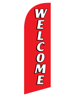 Polyester WELCOME red promotional flag for REWELRD Kits