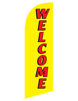 Polyester WELCOME yellow feather flag sign for REWELYL Kits