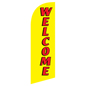 Mirrored reverse text on WELCOME yellow feather flag sign for REWELYL Kits