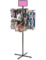 "Rotating Grid Rack with 10"" Pegs Includes Sign Holder"