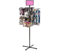 "Black Rotating Grid Rack with 10"" Pegs"
