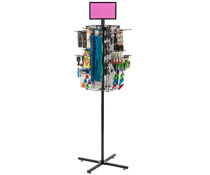 "Rotating Grid Rack with 6"" Pegs Includes Sign Holder"